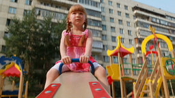 Little Girl on Seesaw Footage