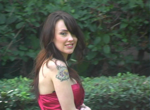 Beautiful, Sexy Brunette Walking Outdoors (2) Footage