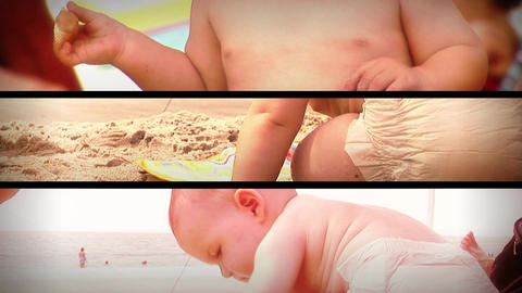 (1131) Summer Beach Baby Toys Composition Loop Footage