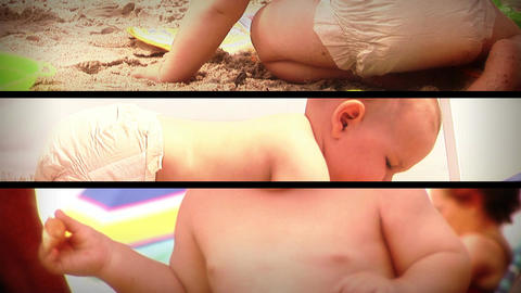 (1131) Summer Beach Baby Toys Composition Loop Stock Video Footage