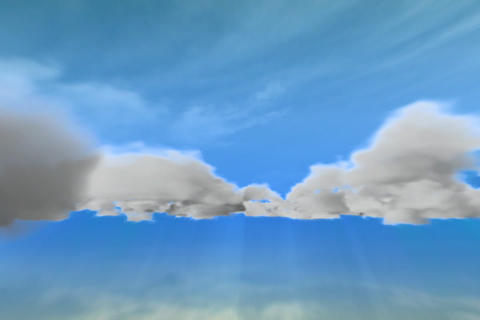 Flying through CGI clouds Stock Video Footage
