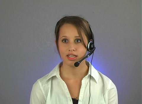 Beautiful Teenage Customer Service Operator Stock Video Footage