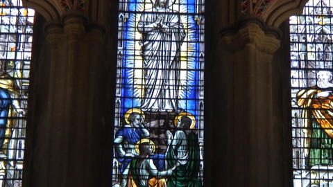 Wells cathedral StainGlass Footage