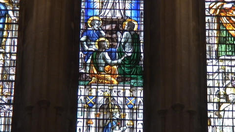 Wells cathedral StainGlass Stock Video Footage
