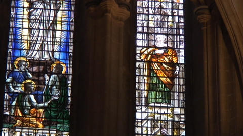 Wells cathedral StainGlass3 Stock Video Footage