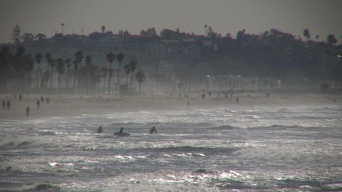 Sunny beach scenic of Santa Monica (High Definition) Stock Video Footage