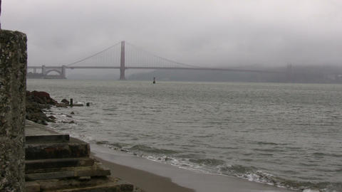 Distant view of the Golden Gate Bridge on foggy day Footage