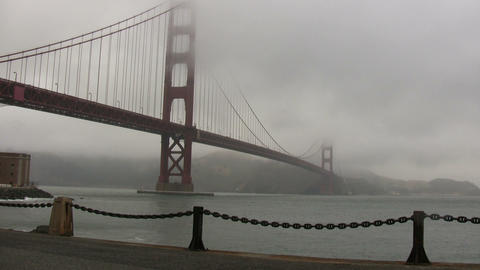 View of the Golden Gate Bridge on foggy day Stock Video Footage