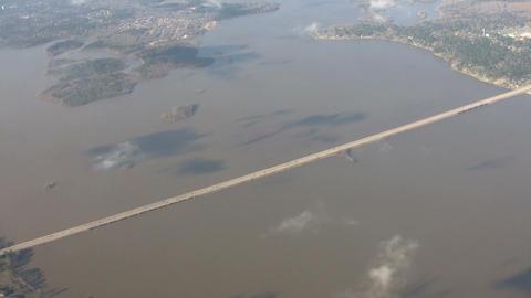 Aerial shot of long highway traffic bridge crossing over... Stock Video Footage