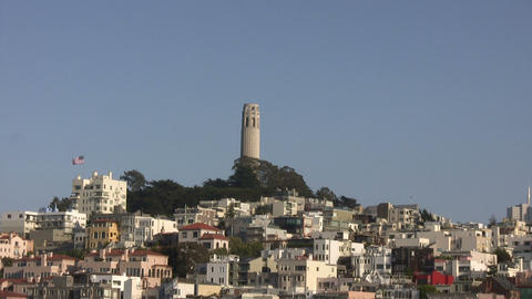 Coit Tower stands tall on a sunny day Stock Video Footage