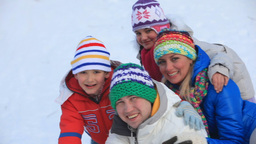Family on Snow Footage
