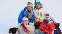 Family Enjoying Hot Tea in Winter Footage