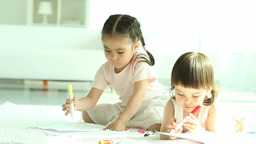 Children Drawing stock footage