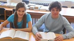 Reading textbooks Footage
