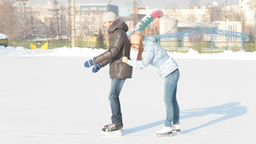Funny Skating Couple stock footage
