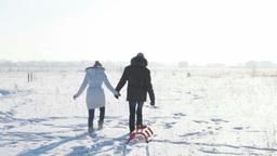Couple Pulling Sled Footage