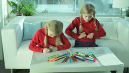 Twins Drawing stock footage
