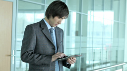 Business Guy With Tablet-pc stock footage