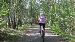 Rear View Of A Woman Cycling Through The Summer Forest Footage