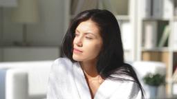 Beauty In A White Bathrobe Enjoying Her Morning Coffee Footage