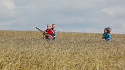 Brothers And Sister Playing With A Toy Plane Out In The Fields Footage