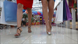 Stylish Shopping Ladies Walking Towards The Camera, Only Legs Are Viewed Footage