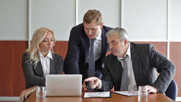 Business People Being Busy Working With Financial Data Footage