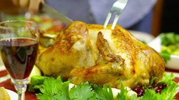 Cooked Poultry Being Cut In Slices On A Thanksgiving Day stock footage