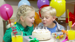 Playful Kids Having Fun At Their Birthday Party Footage