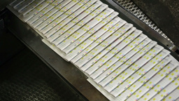 Pile Of Printed Newspapers Moving Along The Line Ready To Be Packed And Distribu Footage