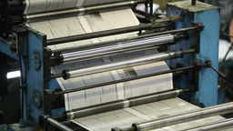 Automatic Printing Machine Rolling Paper To Type The Latest News Footage