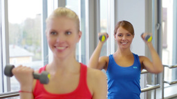 Close-up of cheerful girls doing dumbbell exercises for biceps Footage