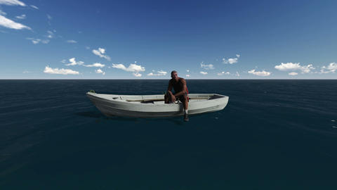 Lonely man in a boat on the sea Animation