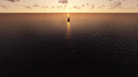 Helicopter Flies Over The Sea At Sunset stock footage