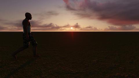 Man walks alone in the desert Stock Video Footage
