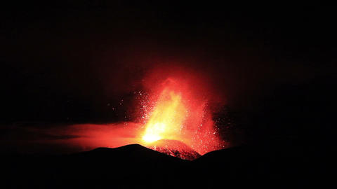 The eruption of Mount Etna. Sicily, Italy Footage