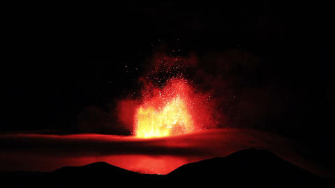 The eruption of Mount Etna. Sicily, Italy. Time La Footage