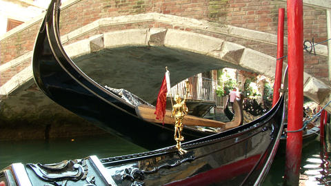 Venice Gondola Detail 02 stock footage