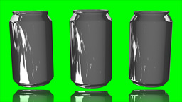 Aluminum cans on green screen Animation