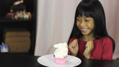 Little Asian Girl Gets Special Birthday Cupcake Footage