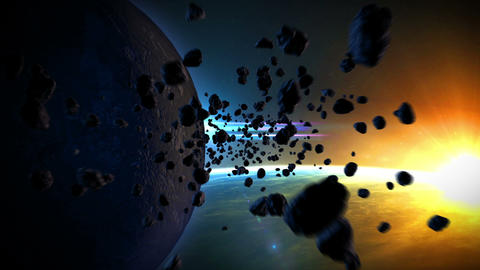 Asteroids_in_space_hd stock footage