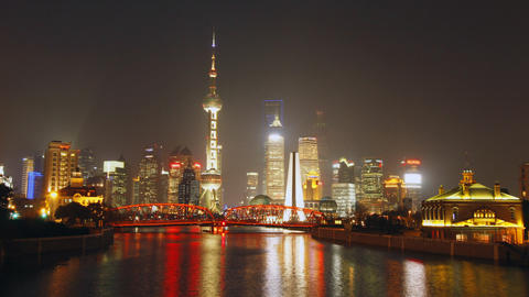 Time Lapse Of Shanghai Garden Bridge Skyline At Ni stock footage