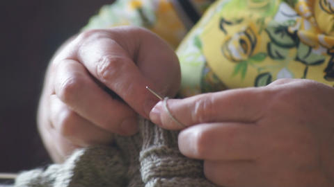 Woman hands knitting 02 Footage