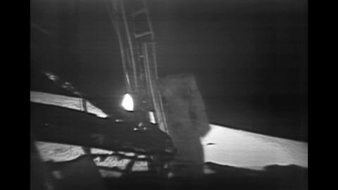 Buzz Aldrin Descends From The Lunar Module stock footage