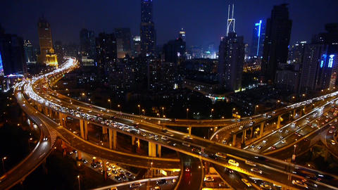 Aerial View of Car Traffic Jam on overpass Interchange at night,moving the lens Animation