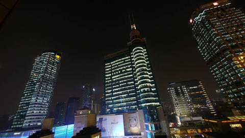 modern urban building,shanghai economic center at night Animation