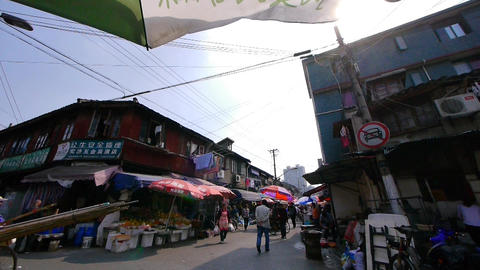 Typical Chinese old town street,shanghai traditional shopping marketplace Animation
