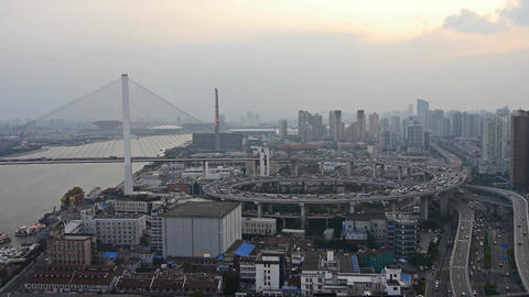 time lapse,Aerial view of shanghai nanpu overpass traffic Animation