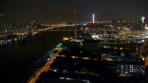 traffic lights trail & vehicles on overpass bridge at night,Urban landscape Animation