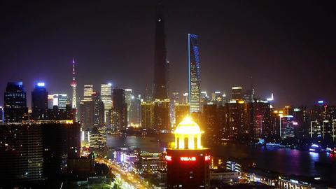 urban traffic at night,shanghai business center,shipping on huangpu river Animation
